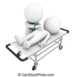 3d white people as doctor sleeping on the stretchers