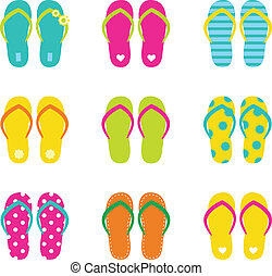 Summer flip flops set isolated on white - Colorful summer...