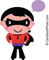 Cute superhero boy with speech bubble isolated on white