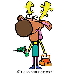 cartoon deer plumber with electric drill and toolbox.