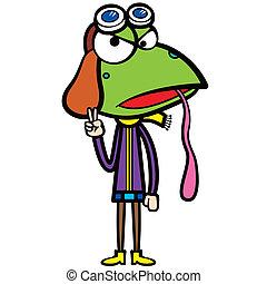 cartoon frog pilot