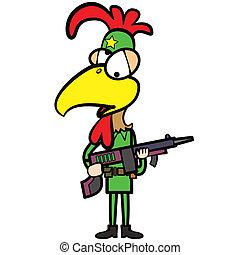 cartoon chicken soldier with gun