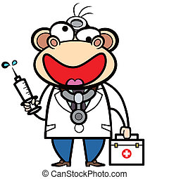 cartoon monkey doctor with first aid kit and syringe