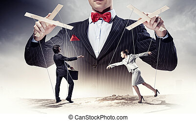 Businessman puppeteer - Image of young businessman...