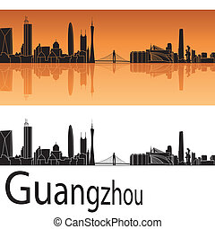 Guangzhou skyline in orange background in editable vector...