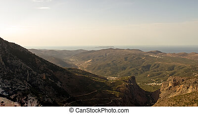 Crete . - Panoramic landscape over Mountains in Crete,...