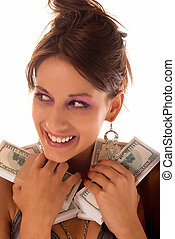 Cash - Young happy woman with money stack on white
