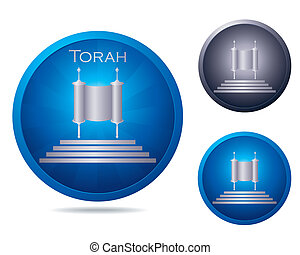 Torah icon set - set of three icons with ancient Torah