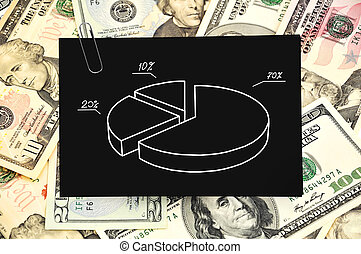 paper with pie chart on money background