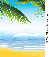Palm branches on the coastline