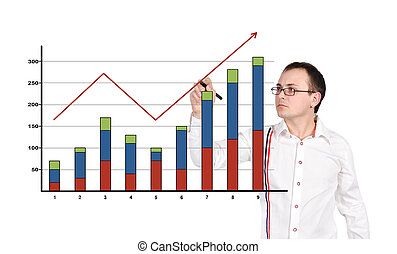 man drawing chart