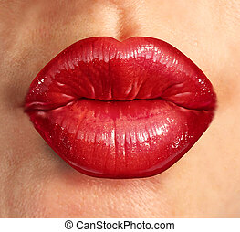 Human Kiss Lips - Human kiss lips with glamorous glossy red...