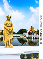 Statue at Bang Pa-In Palace, Thailand (Summer Palace of the...