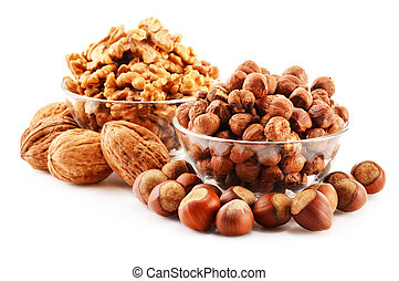 Composition with nuts isolated on white