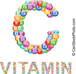 Vitamin C Text Isolated On White