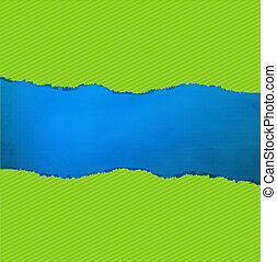 Blue Texture With Green Rip Paper