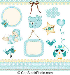 Baby boy design elements - Scalable vectorial image...