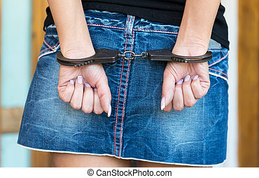 Hands bounded with handcuffs symbol for crime