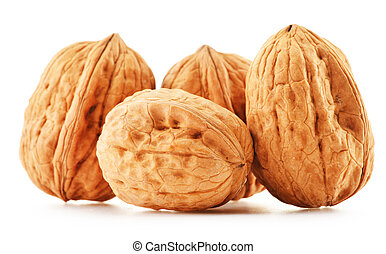 Composition with walnuts isolated on white