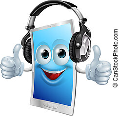 Headphones phone man - A drawing of a cartoon smiling...