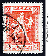 Postage stamp Greece 1919 Hermes Carrying Infant Arcas -...