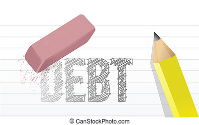 erase debts concept illustration design over a white...