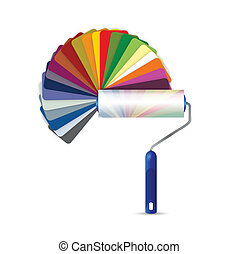 paint roller and color pallet illustration design over a...