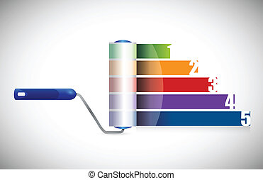 paint roller business graph illustration design over a white...
