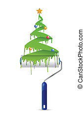 paint roller and christmas tree illustration design over a...