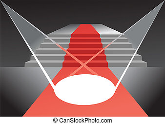 stage with red carpet and spotlight - vector opened stage...