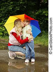 女の子, 傘, お母さん, 雨, 遊び