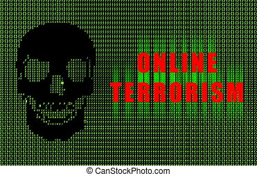 Online Terrorism Digital Warning Danger in Ascii