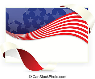 American flag , Business cards with
