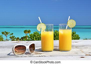 laranja, suco, óculos de sol