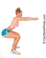 woman doing squats - fitness woman doing squats