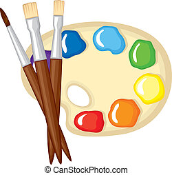 Paintbrushes and palette of paints