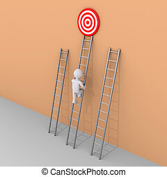 Person is choosing to climb the right ladder - 3d person is...