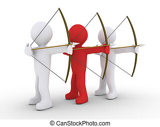 Three archers but one is leader