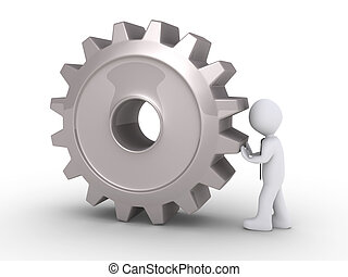 Businessman pushing cogwheel - 3d businessman is pushing a...