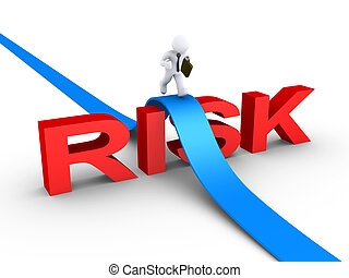 Businessman overcoming risk word - 3d businessman is running...
