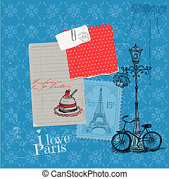 Scrapbook Design Elements - Paris Vintage Card with Stamps -...