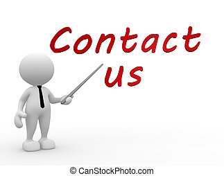 Contact us - 3d people - man, person pointing a text CONTACT...