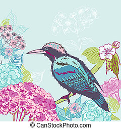 Bird with Flowers Background - for design and scrapbook - in vector