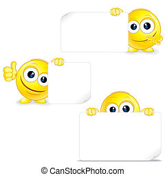 Funny Smiley with Sign and Thumb Up. Vector