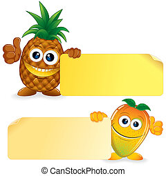 Pineapple with Mango. Vector Cartoon Illustration