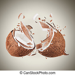 Coconut in motion with breaking pieces