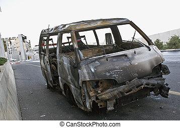 Burnt car - Burnt-out car on road shoulders