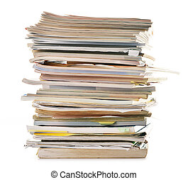 Stack of old magazines isolated on white Paper recycling