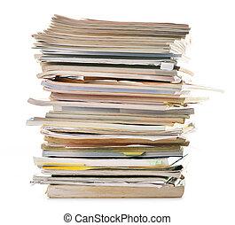 Pilha, antigas, Revistas, isolado, branca, papel, reciclagem
