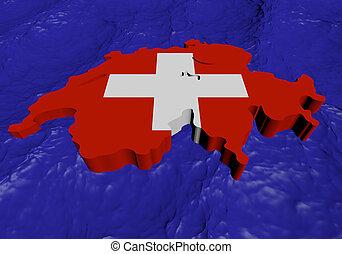 Switzerland map flag in abstract ocean illustration